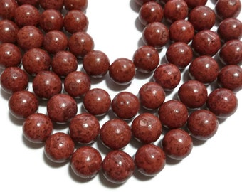 Red Sponge Coral - 16mm Round Bead - 25 beads - Full Strand