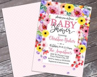 Flower Shower Invitation - Baby Shower, Spring Shower, Floral Baby Shower, Spring Flowers | DIY Editable Text INSTANT DOWNLOAD Printable