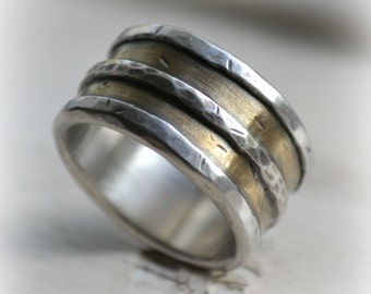 mens wedding band - rustic fine silver brass and sterling silver ring - handmade wide band wedding ring - manly ring, custom hand stamping
