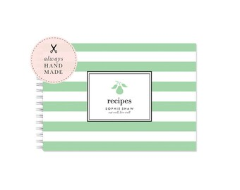 Blank Recipe Book Personalized - Stripe | Custom | Stationery | Monogram | Bridal Shower | Journal | Cooking | Engagement | Kitchen