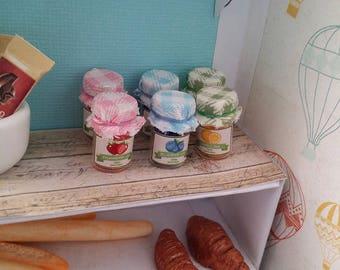 3 Dollhouse miniature JAM jars 1:12 scale - strawberry, blueberry, orange labels