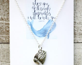 Boat Necklace - Christian Jewelry - When You Go Through Deep Waters - Boat Jewelry