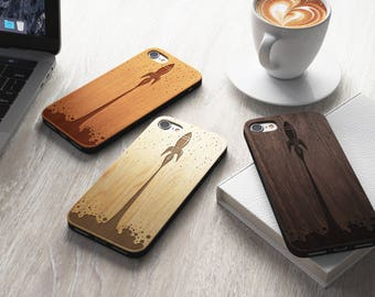 Rocket Real Wood iPhone 7 Case | iPhone 6 Cover | iPhone 6S Case | Real Wood Case | Laser Engraved | Laser Etched | Laser Cut