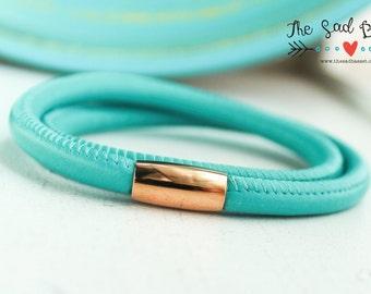 Leather & Rose Gold Wrap Bracelet | Leather Wrap Jewelry | Hand Stamped Bracelet | Leather Cuff | Turquoise Bracelet | Charm Bracelet | Teal