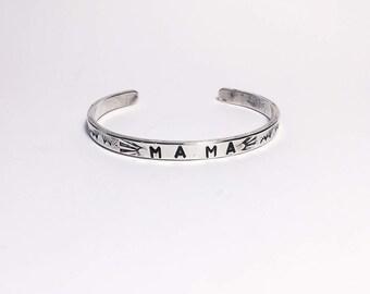 silver stamped mama cuff; southwest cuff; sterling silver; hand stamped cuff; mother; mom ;boho mama; bracelet;silver bracelet