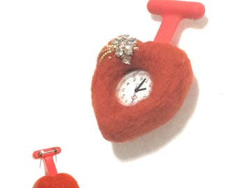 Valentine Red Heart Watch Brooch, Red Felted and Beaded Nurses Watch, Needle Felted Brooch, Cubic Zirconia Heart Brooch, Valentine Gift