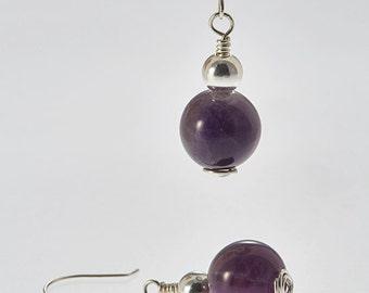 Amethyst and Sterling Silver Drop Earrings