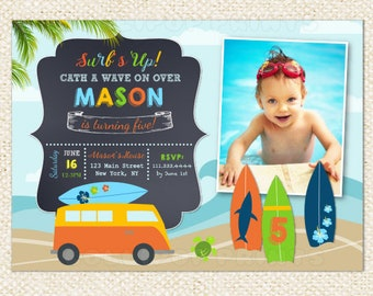Surf's Up  Surfing theme - Custom Printable Photo birthday Party invitation