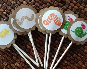 Bug & Insect Cupcake Toppers - Set of 12-