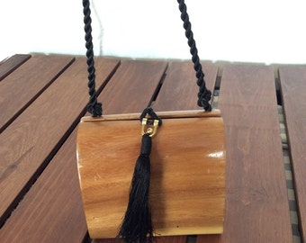 Vintage Fashionable Authentic Beverly Hills Collection by Timmy Woods Tan Whood Shoulder Bag Cross Body Bag