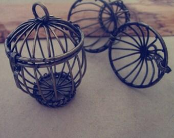 2pcs Antique bronze birdcage charm 30mmx43mm