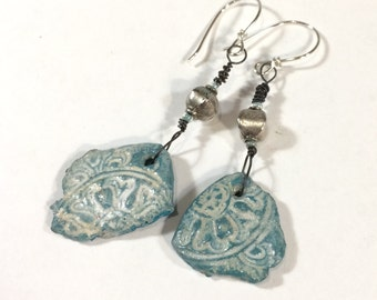 Stamped Blue Clay Earrings, Polymer Clay Earrings, Faux Pottery Shard Jewelry - Free Domestic Shipping