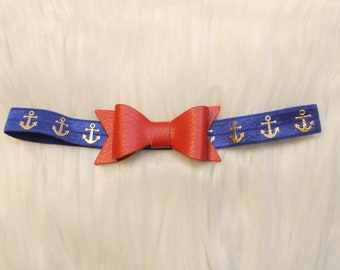 Red Headband - Blue Headband - Baby Headband - Toddler Headband - Newborn Headband - Red Bow - Anchor Headband