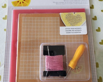Amy Tangerine - American Crafts - 12 Piece Accent Embroidery Stencil Stitching Kit - HELLO