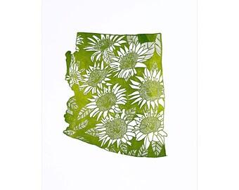 Letterpress Arizona Saguaro Cactus Blossom