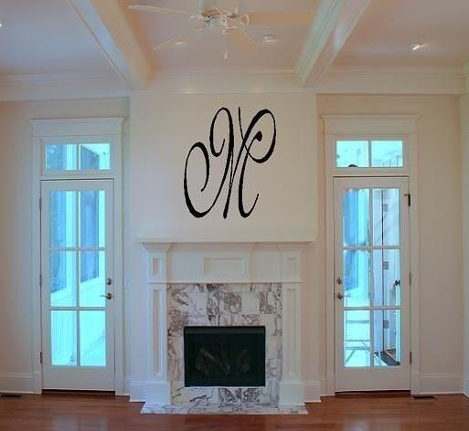 Initial Home Decor: Monogram Initial Vinyl Wall Decal Home Decor Wedding