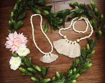 Mommy and me matching beige multi tassel necklaces set
