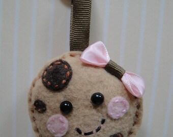 Felt Chocolate Chip Cookie Keychain