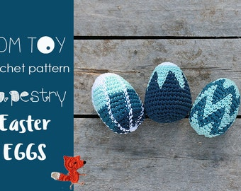 Tapestry Easter Eggs Crochet PATTERN by TomToy Three designs Ombre Stripes, Flower and Chevron, Tapestry Jacquard Colorwork crochet