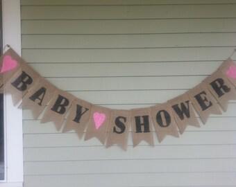 Baby shower burlap banner.