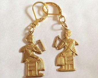Egyptian seated Pharaoh handmade raw brass earrings for pierced ears nickel free