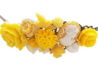 Yellow Lady Cameo Cluster Headband-Chunky Headband-Wedding Headband-Bridal Hair Accessory-Bridesmaid Hair-Fashion Accessory-Bright Yellow
