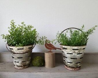 ONE Galvanized Olive Bucket Buckets Distressed White Paint with Faux Plant Farmhouse