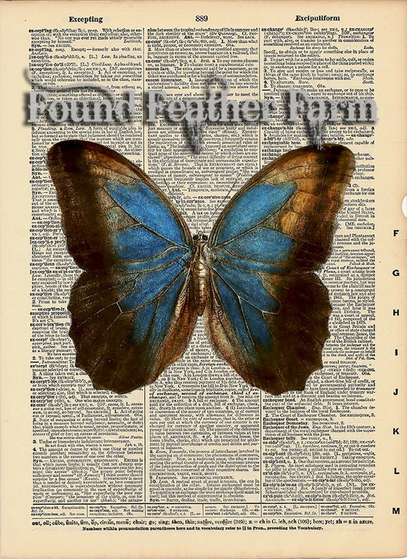 """Vintage Antique Dictionary Page with Antique Print """"Blue Butterfly"""""""