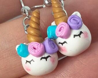Unicorn earrings, Fantasy earrings, Polymer clay earrings, Rainbow earrings, Magical jewelry, Unicorn jewelry, Kawaii earrings, Cute unicorn