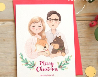 Custom Holiday Portrait Card - Family & Couples Portrait - 5x7 Card Digital File