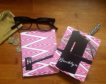 Pink Chevron Brooklyn Notebook | Brooklyn Journal-Jotter-Pink Chevron Notebook-Preppy Hipster Journal-