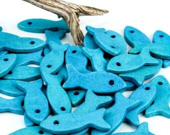 25%OFF SALE 2 Large Mykonos Ceramic Fish Greek Beads Turquoise DIY Nautical Summer pendant 35mm
