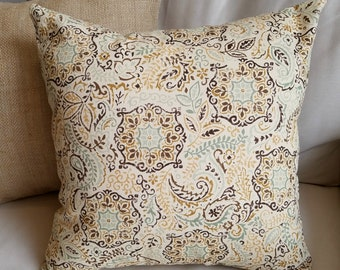 Natural, Brown, Yellow and Green Paisley Leaf Print Pillow Cover - Various Sizes