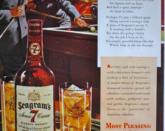 1943 ad Seagram's 7 Crown Whiskey Men Playing Pool Billiards Illustration Art Vintage Print ad ETK203