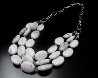 White Howlite Multi Strand Necklace, White Necklace, White Jewelry, Oval Beads, Silver Chain, White Beaded Necklace, Multistrand Necklace