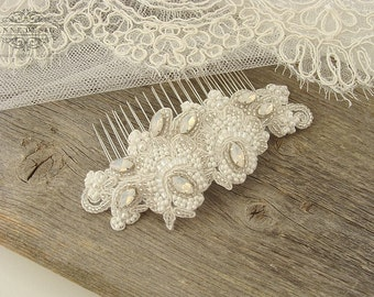 Beaded Bridal Lace Hair Comb with Rhinestones, Vintage Wedding Hair Accessories, Lace Wedding Comb, White Lace Headpiece, Lace Hairpiece