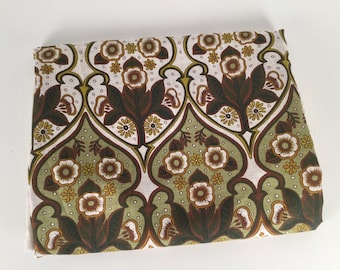 Vintage 1970s Fabric, 70s Floral Fabric, Border Print Fabric, Green Floral Fabric, Brown Floral Fabric, Floral Cotton Fabric, 3+ Yards