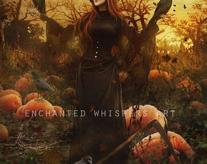 Halloween woman Scarecrow with crows and scyth art print