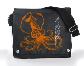 Green Mad Science Squid messenger bag  black