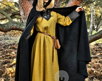 Ready for shipping! Medieval Viking cloak with hood, natural fox fur, historical cape, Middle Ages, coat for man, a semicircle coat,