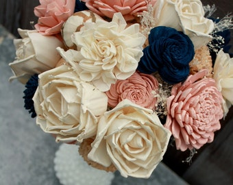 Sola flower bouquet, brides wedding bouquet, champagne, navy blue and blush pink wedding flowers, navy blue bouquet, eco flowers