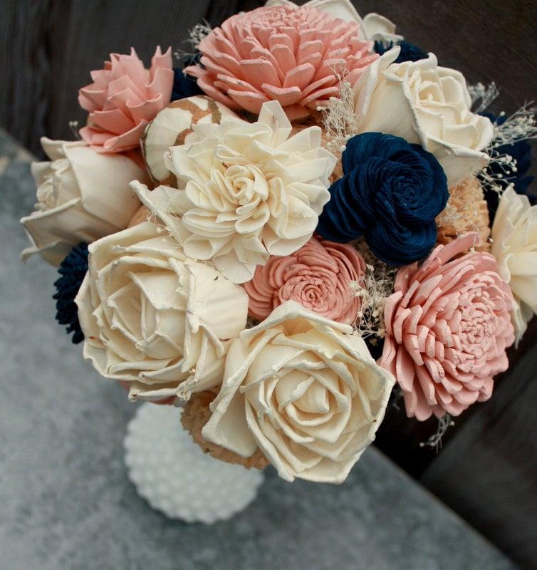 Sola flower bouquet brides wedding bouquet champagne navy