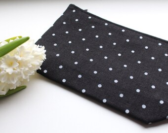 Black Linen Cosmetic Bag with White Polka Dots  - Cosmetic Storage - Zipper Pouch