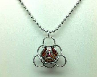 Isotope Chainmaille wrapped Swarovski Crystal Pendant