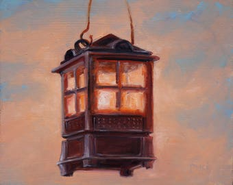 """The Lantern, original oil painting by puci, 8x10"""": Framed"""