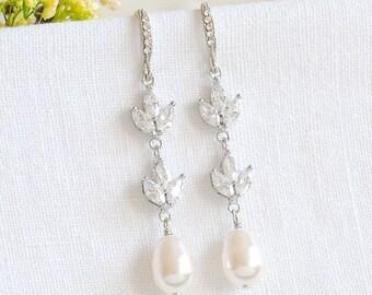 Pearl Bridal Earrings, Crystal Wedding Earrings, Leaf Dangle Drop Earrings, Rose Gold Earrings, Bridal Wedding Jewelry, Bridesmaids, BLYTHE
