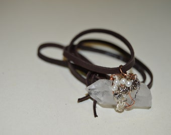 Quartz Wire Wrapped Crystal Necklace