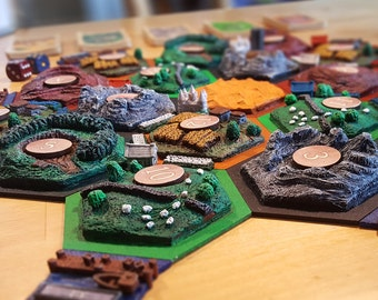 3d resource tiles set // Handmade boardgame // Sculpted 3d terrain tiles //
