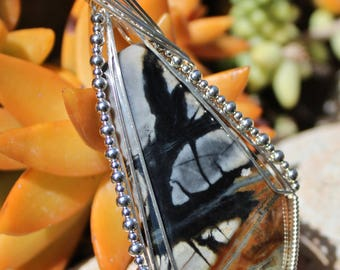 Large Picasso Jasper Stone Pendant, Picasso Marbel Stone, Picasso Jasper Pendant Argentium Sterling Wire Wrapped, Handmade Jewelry Necklace