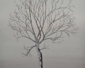 "Autumn tree Original Abstract Acrylic Painting.36"" x 24"""